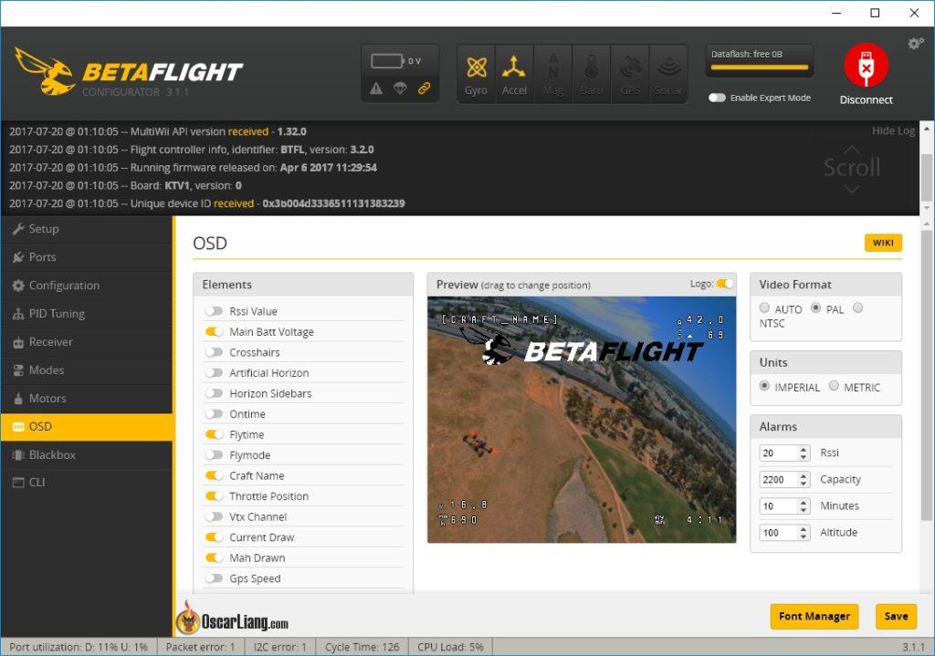 Меню настроек OSD в Betaflight