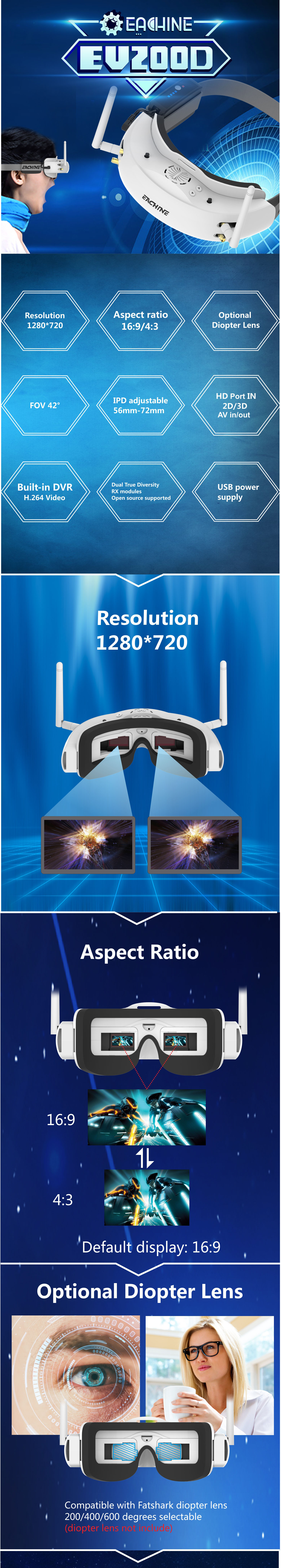 FPV очки Eachine EV200D: характеристики и фото