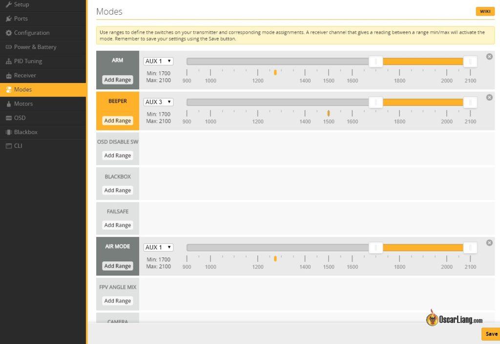 betaflight-Setup configurator receiver