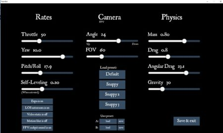 ОбзорFPV симулятора Freerider Classic/Recharged - пользовательские настройки