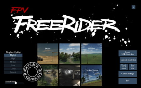 ОбзорFPV симулятора Freerider Classic/Recharged - главное меню