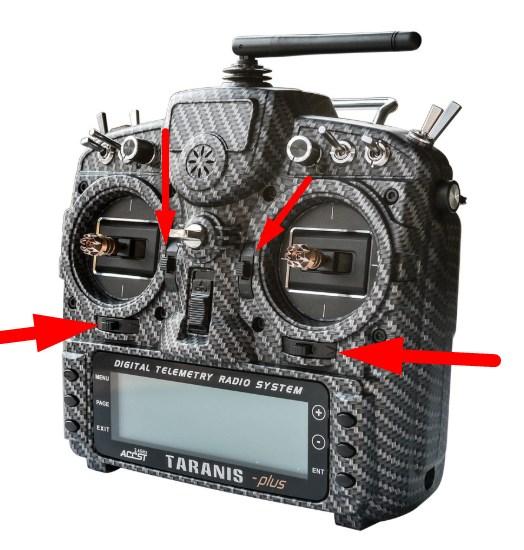 Замена trim (обрезки) кнопок на Taranis X9D