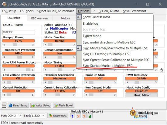 Звуки и музыка регуляторами оборотов (ESC) и моторами   BLHELI_32 blhelisuite32 configurator music editor начальные настройки sync