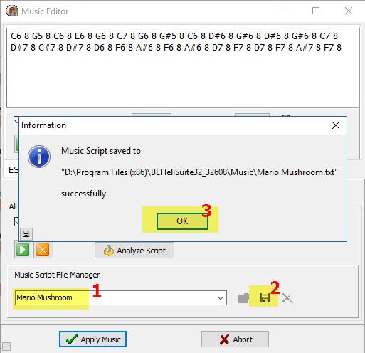 Звуки и музыка регуляторами оборотов (ESC) и моторами   BLHELI_32 blhelisuite32 configurator music editor сохранение файла мелодии