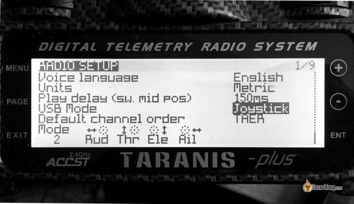 Taranis не работает в симуляторе, настройки USB и JOYSTICK
