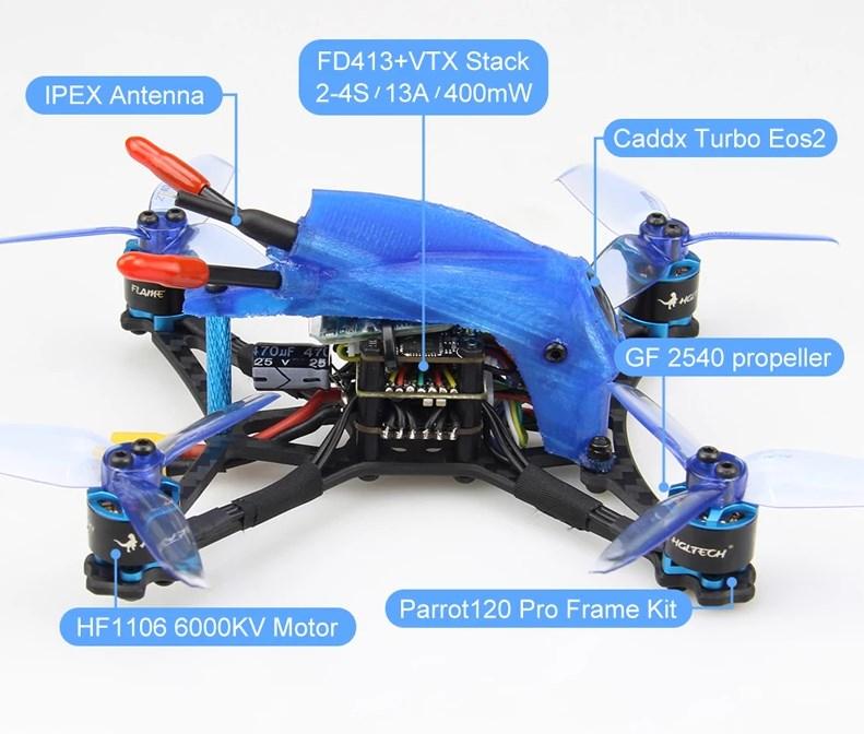 HGLRC Parrot120 Pro гоночный FPV квадрокоптер