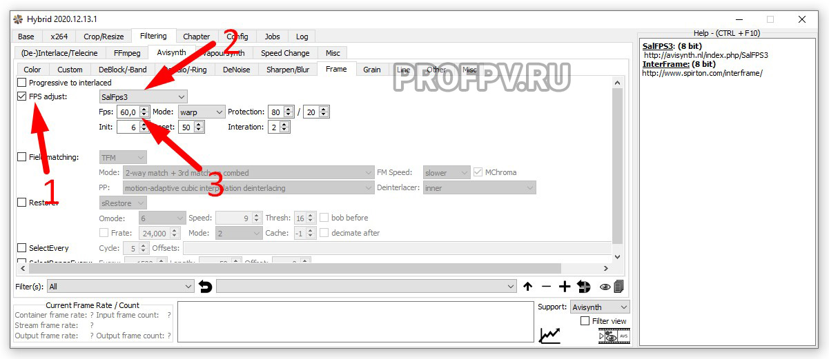 """Поставьте галку на """"FPV adjust"""" и выберите """"SalFps3"""" и измените FPS на 60"""