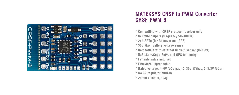 Приемники Matek ExpressLRS (ELRS-R24-D) и платы CRSF для PWM (CRSF-PWM-C)